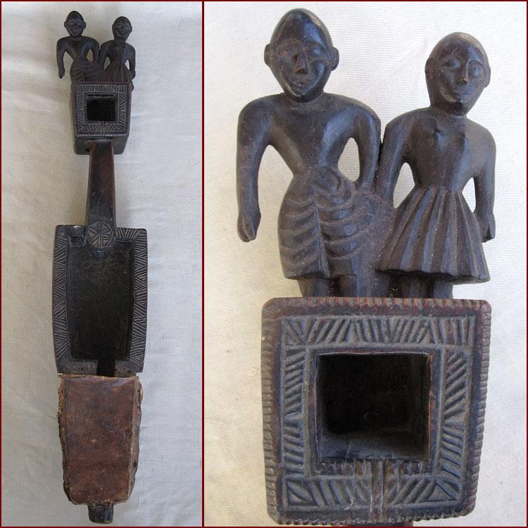 19thc carved sarangi two tribal figures superb patina rare